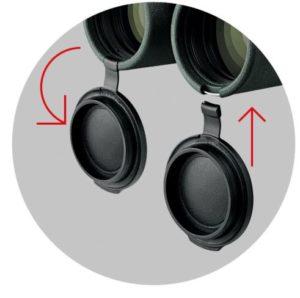 SICHER GESCHÜTZT Die neuen Objektiv- und Okularschutzdeckel sind aus besten Materialien gefertigt und harmonisch ins Gesamtdesign integriert. Dadurch gehört das Verlieren von Schutzdeckeln der Vergangenheit an. Ihr Fernglas ist somit gegen äußere Einflüssen bestens gerüstet.